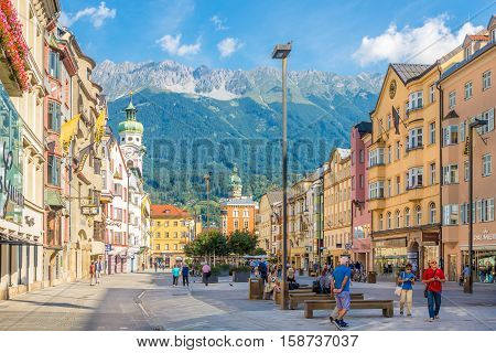 INNSBRUCK,AUSTRIA - SEPTEMBER 4,2016 - In the streets of Innsbruck. Innsbruck is the capital city of Tyrol in western Austria. It is located in the Inn valley.