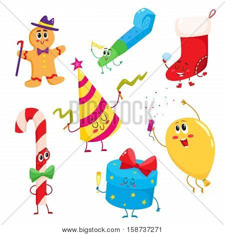 Set of cute and funny Christmas, birthday, holiday characters, cartoon vector illustration isolated on white background. Gingerbread, candy cone, Xmas boot, gift box, birthday hat and whistle, balloon
