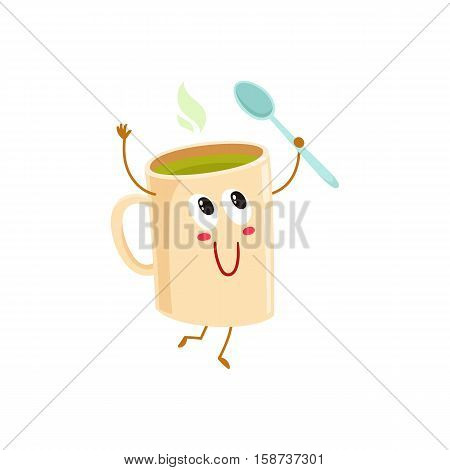 Funny green tea mug character holding a spoon, cartoon vector illustration isolated on white background. Cute green tea ceramic, porcelain mug character with eyes, legs, and a wide smile