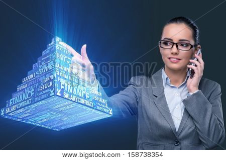 Businesswoman in ponzi scheme concept