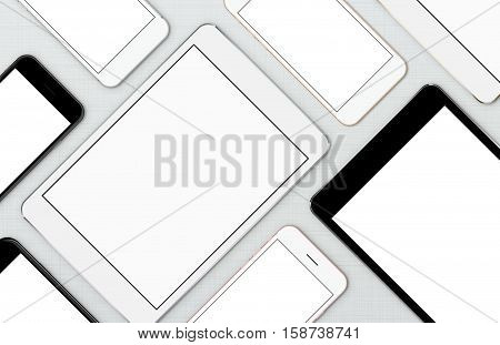 mock-up smart phone and digital tablet modern communication device on top view