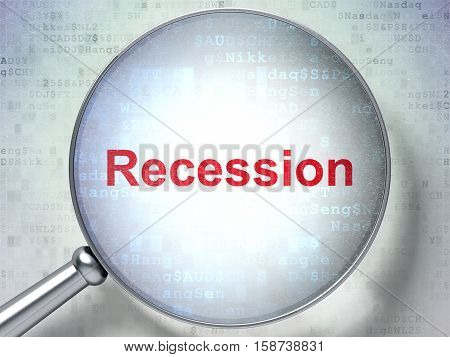 Finance concept: magnifying optical glass with words Recession on digital background, 3D rendering