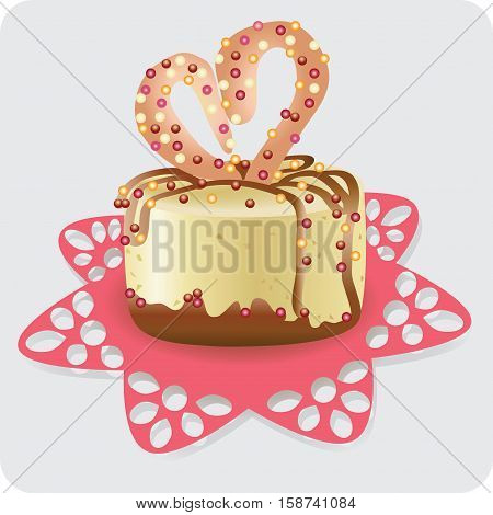 Cake for the beloved Vector image. Design for banner, booklet, menu, advertising.