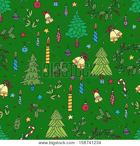 Christmas decoration seamless pattern. Background with graphic elements. Toys candles engraving fur-trees deer and bells. New Year vector.