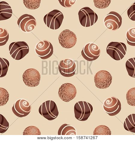 Chocolate candies. Seamless pattern. Design for textiles, napkins, tapestries, tablecloths, wrapping paper