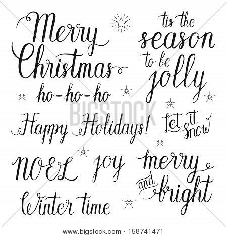 Merry and Bright Christmas Happy Holidays Let it snow Tis the season to be jolly NOEL Ho-Ho-Ho Winter time joy hand lettering set for greeting cards. Vector hand drawn elements.