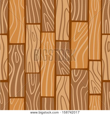 Wooden texture background. Vector seamless pattern. Cartoon wooden boards.