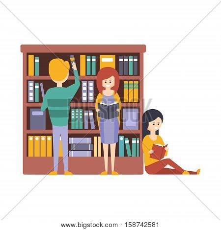 Library Or Bookstore With People Choosing And Reading Books Next To Bookshelf. Flat Primitive Vector Illustration With Colorful Human Characters In Bookshop Interiors.