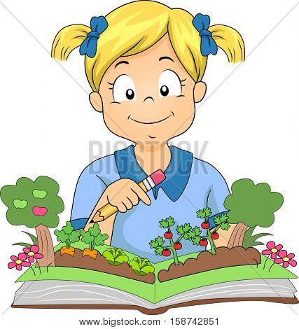 Illustration of a Little Girl Opening a Colorful Pop Up Book About Gardening