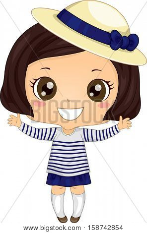Illustration of a Cute Little Girl Wearing a Breton Shirt and a Derby Hat