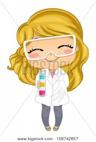 Illustration of a Cute Little Girl in a Laboratory Coat and Glasses Holding a Test Tube Containing a Colorful Solution