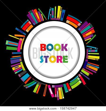 Bookstore round frame with colorful book on black background