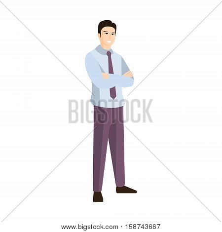 Man In Shirt And Black Tie Part Of The Collection Of Young Professional People Office Style And Street Fashion Looks. Smiling Confident Person In Trendy Modern Clothing Flat Vector Illustration.n.