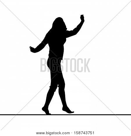 Woman silhouette balancing on slack line over white background