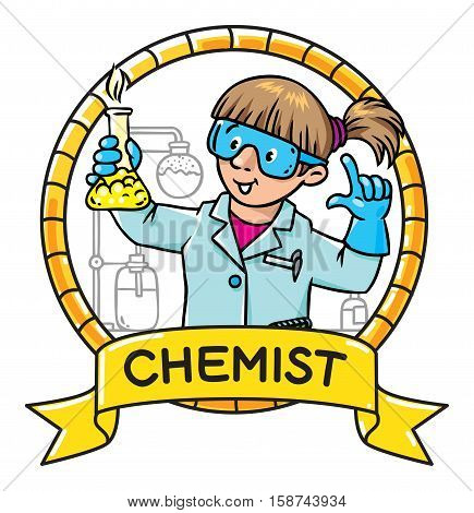 Childrens vector illustration or emblem of funny chemist or scientist. A woman in glasses dressed in a lab coat and gloves with smocking retort. Profession series.