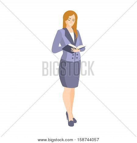 Woman In Classic Suit ith Skirt Part Of The Collection Of Young Professional People Office Style And Street Fashion Looks. Smiling Confident Person In Trendy Modern Clothing Flat Vector Illustration.