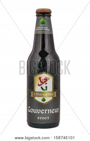 NETHERLANDS - LEIDSCHENDAM - MEDIA OCTOBER 2015: Lindeboom Gouverneur Stout beer bottle from the Lindeboom brewery in Leer Netherlands.
