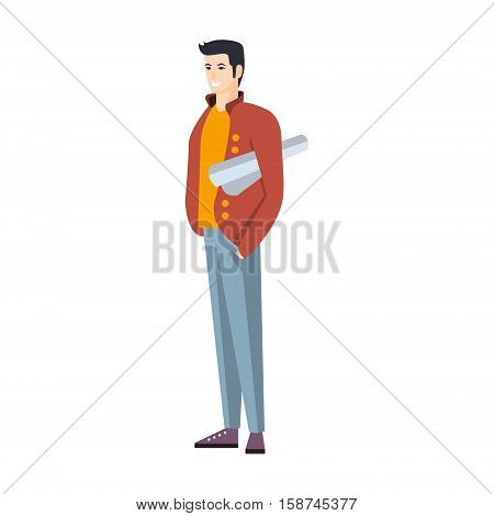 Man In Jeans And Red Jacket With Roll Of Project Part Of The Collection Of Young Professional People Office Style And Street Fashion Looks. Smiling Confident Person In Trendy Modern Clothing Flat Vector Illustration.