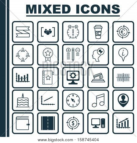 Set Of 25 Universal Editable Icons. Can Be Used For Web, Mobile And App Design. Includes Icons Such As Currency Recycle, Human Mind, Crotchets And More.