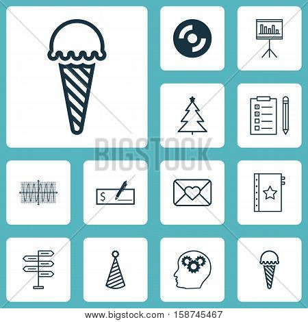 Set Of 12 Universal Editable Icons. Can Be Used For Web, Mobile And App Design. Includes Icons Such As Celebration Letter, Reminder, Sinus Graph And More.