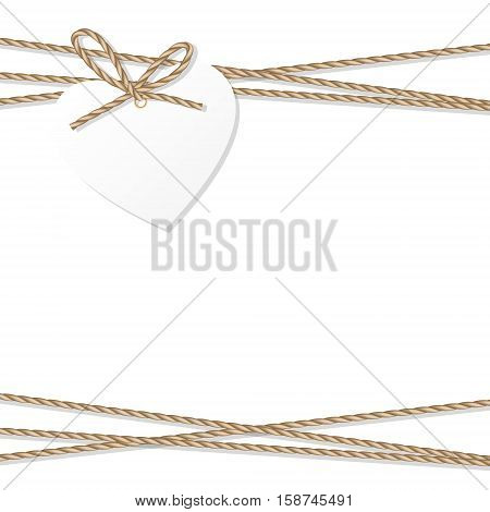 Abstract white background with heart tag label tied up with rope bow and ribbons