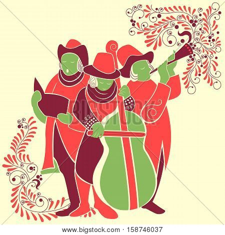 Vector design of people celebrating and singing carol for festival Merry Christmas holiday background