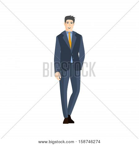 Man In Classic Suit With Orange Tie Part Of The Collection Of Young Professional People Office Style And Street Fashion Looks. Smiling Confident Person In Trendy Modern Clothing Flat Vector Illustration.