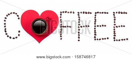 Coffeebeans text and red coffee cup with red heart on white background