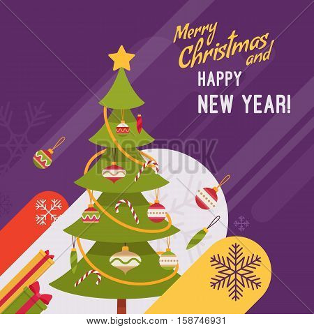 New Year and Christmas card with copyspace for texting. Purple background, green fur tree decorated with glass baubles and candy canes. Cartoon vector flat-style graphic template
