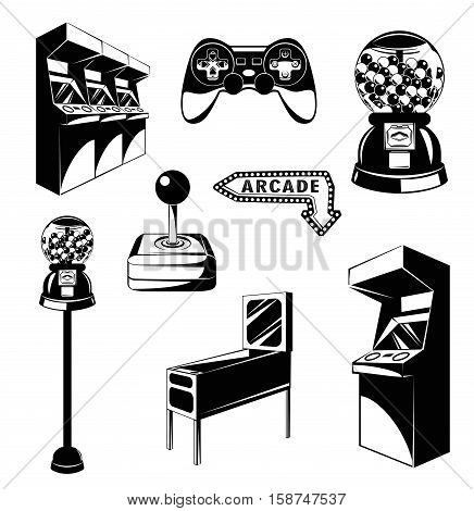 arcade room. video game set. Gaming machine. Computer Video Game Joystick and videopad. gumball machine. Vector Illustration