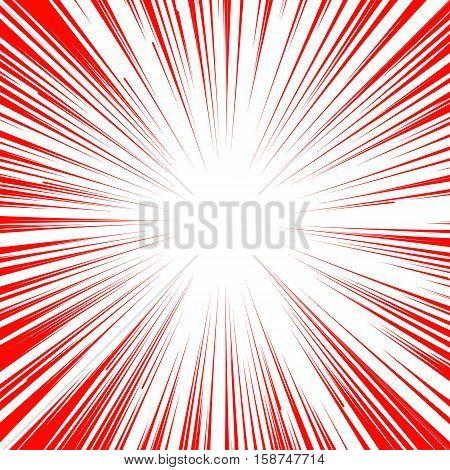 Abstract comic book flash explosion radial lines background. Vector illustration for superhero design. Bright red white light strip burst. Flash ray blast glow. Manga cartoon hero fight print stamp