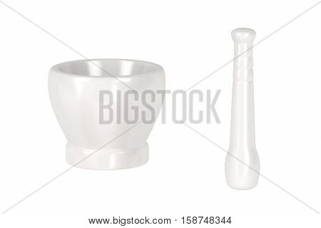 White porcelain mortar with pestle isolated on white background, 3D illustration