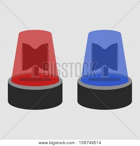 Two police flasher sirens set isolated on grey background vector illustration