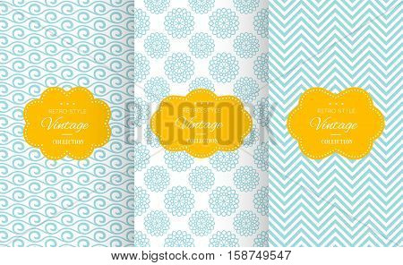 Vintage different vector seamless patterns. Endless texture for wallpaper, fill, web page background, surface texture. Set of monochrome geometric ornament. Blue and white shabby pastel colors.