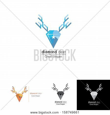 diamond deer logo design with star at the middle suitable for classic modern business look, hunt club community, military