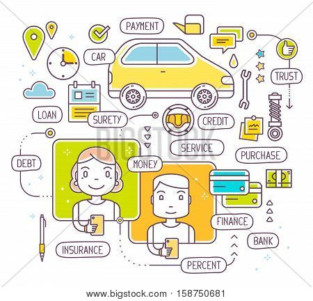 Vector illustration of talking man and woman by phone about buying a car on credit. Taking a consumer loan on white background. Thin line art flat design of decision on bank credit