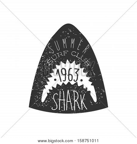 Great White Shark Head Summer Surf Club Black And White Stamp With Dangerous Animal Silhouette Template. Monochrome Vector Surfing Beach Sport Sign Design With Text And Date.