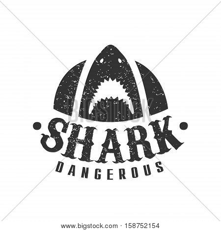 Shark With Open Mouth And Sharp Teeth Summer Surf Club Black And White Stamp With Dangerous Animal Silhouette Template. Monochrome Vector Surfing Beach Sport Sign Design With Text And Date.