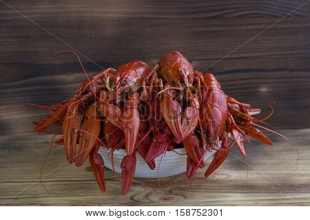 Plate Boiled Clawfishes On Wooden Background