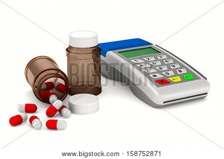 payment terminal and medecine on white background. Isolated 3d image
