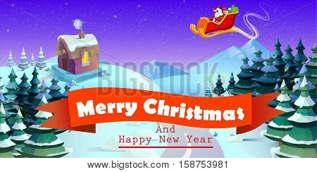Santa Claus On Sleigh And His Reindeers. Winter Town. Urban  Landscape. Christmas Card. Vector Illus
