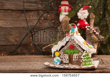 Gingerbread house. Christmas holiday sweets. European christmas holiday traditions. Christmas gingerbread house
