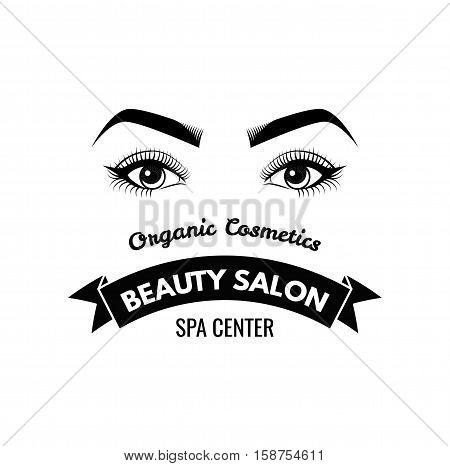 Beauty Salon Label. Mascara for Eyelashes. Eye Makeup. Badge. Vector Illustration Isolated