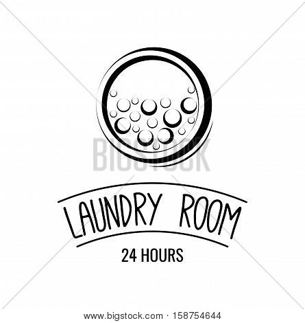 Laundry Room label and badge. Vector Illustration Isolated On White Background