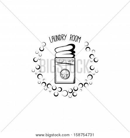 washing machine, laundry room badge. vector illustration isolated on white background