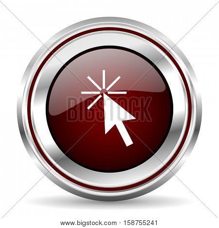 click here icon chrome border round web button silver metallic pushbutton