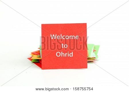 picture of a red note paper with text welcome to ohrid