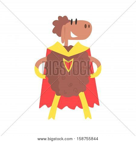 Sheep Smiling Animal Dressed As Superhero With A Cape Comic Masked Vigilante Geometric Character. Part Of Fauna With Super Powers Flat Cartoon Vector Collection Of Illustrations.
