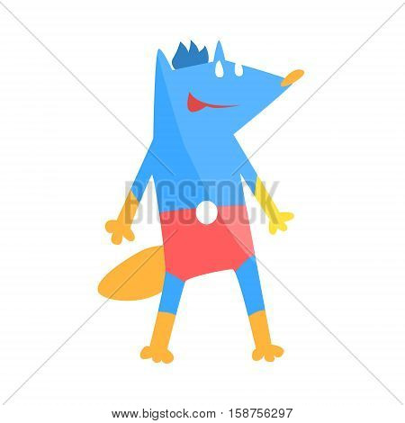 Blue Fox Animal Dressed As Superhero With A Cape Comic Masked Vigilante Geometric Character. Part Of Fauna With Super Powers Flat Cartoon Vector Collection Of Illustrations.