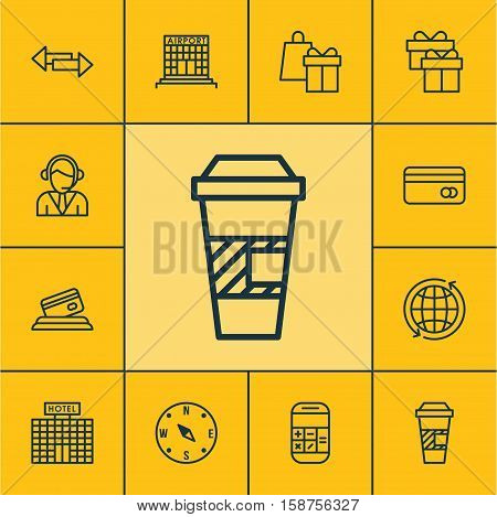 Set Of Traveling Icons On Hotel Construction, Calculation And Crossroad Topics. Editable Vector Illustration. Includes Locate, Shopping, Hotel And More Vector Icons.